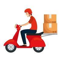 lavoratore del servizio di consegna in moto con scatole vettore
