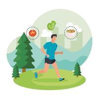 uomo atletico che corre nel paesaggio con cibo sano vettore