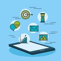 tecnologia di marketing digitale con tablet vettore