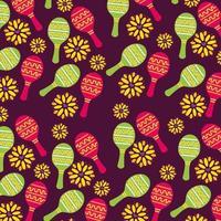 maracas messicane sfondo pattern vettore