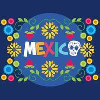 fiori e foglie messicani disegno vettoriale