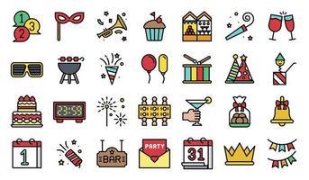 set di icone riempito elementi festa di capodanno vettore