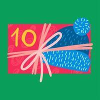 regalo di Natale dall'alto illustrazione vettoriale piatta