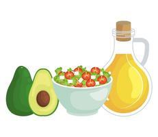 insalata di verdure ciotola di ceramica con olio d'oliva e avocado vettore