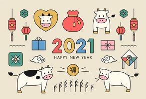Icona di felice anno nuovo 2021.