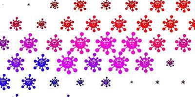 modello vettoriale rosa chiaro, rosso con elementi di coronavirus.