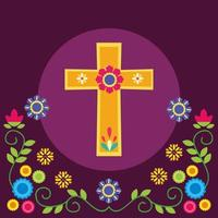 croce messicana e fiori disegno vettoriale