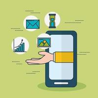 tecnologia di marketing digitale con smartphone vettore