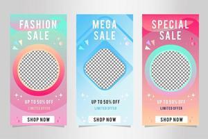 striscioni di vendita di moda gradiente con foto vettore