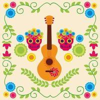 chitarra messicana e disegno vettoriale teschio
