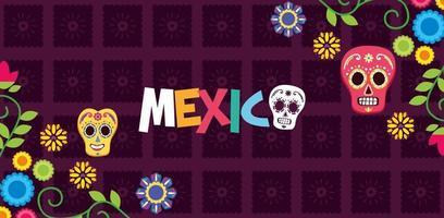 bandiera messicana di teschi e fiori vettore