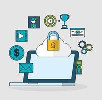 tecnologia di marketing digitale con laptop vettore