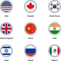 set di icone rotonde con bandiere vettore