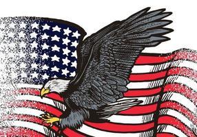 Aquila in volo disegnata a mano con illustrazione della bandiera americana isolato su priorità bassa bianca. aquila in volo con bandiera americana per logo, emblema, carta da parati, poster o t-shirt. simbolo americano di libertà. vettore