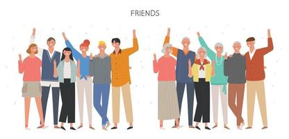 giovani amici e anziani. vettore