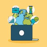 tecnologia di marketing digitale con il pianeta terra vettore