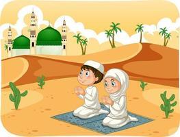 sorella e fratello musulmani nel personaggio dei cartoni animati di posizione di preghiera vettore