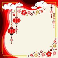 disegno di sfondo piatto con ornamento cinese vettore