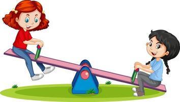 personaggio dei cartoni animati ragazze che giocano altalena su sfondo bianco vettore