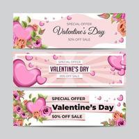set di banner di vendita di san valentino vettore