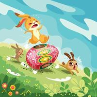 conigli di coniglietto divertenti che guidano il concetto dell'uovo di Pasqua vettore