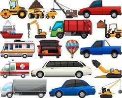 set di diversi tipi di automobili e camion isolati su sfondo bianco vettore