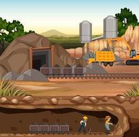 paesaggio della scena di estrazione del carbone vettore