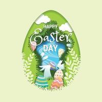 concetto di caccia alle uova di Pasqua nel design in stile carta vettore