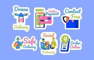 set di adesivi concetto di shopping online