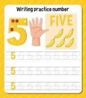 foglio di lavoro numero 5 di scrittura pratica vettore