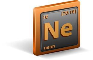 elemento chimico al neon. simbolo chimico con numero atomico e massa atomica. vettore