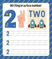 foglio di lavoro di scrittura pratica numero 2 vettore