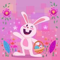 coniglietto di Pasqua coniglio faccia felice vettore