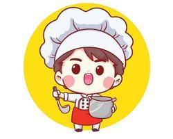 carino panificio chef ragazzo cucina sorridente fumetto arte illustrazione vettore