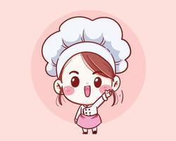 carino chef ragazza sorridente fumetto illustrazione arte vettoriale. vettore