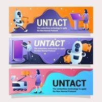 set di banner design paesaggistico che rappresenta la tecnologia contactless