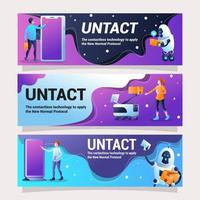 design di banner untact che rappresenta la tecnologia contactless vettore