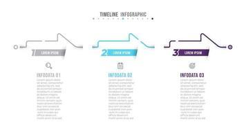 vettore infografica sottile linea di design con frecce elaborare elementi e numero 3 opzioni o passaggi. concetto di business per presentazioni, relazione annuale, grafico informativo.