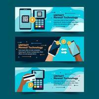 raccolta di banner di pagamento tecnologia contactless
