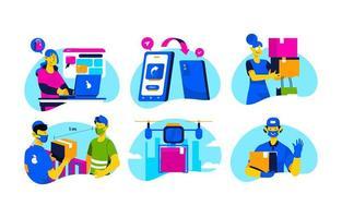 set di icone di concetto di acquisto digitale