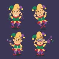set di mardi gras jester personaggio dei cartoni animati vettore