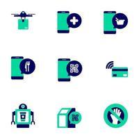 collezione di icone di tecnologia contactless