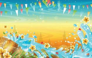 Songkran spruzzi d'acqua sullo sfondo del festival vettore