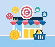 social media marketing con modello di pagina web vettore