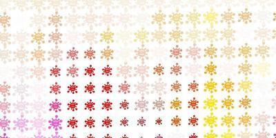 modello vettoriale rosso chiaro, giallo con elementi di coronavirus.