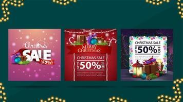 vendita di natale, raccolta di striscioni quadrati di sconto natalizio con una pila di regali di natale vettore
