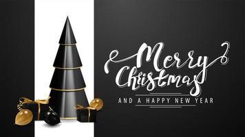 buon natale e felice anno nuovo, cartolina bianca e nera con albero di natale geometrico volumetrico con regali nei colori nero e oro vettore