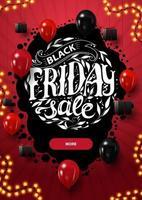 vendita venerdì nero, banner rosso sconto verticale con bellissime scritte rotonde, pulsante e palloncini