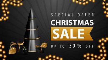 offerta speciale, saldi natalizi, fino a 30 off, banner web sconto bianco e nero con albero di natale geometrico volumetrico con regali nei colori nero e oro vettore