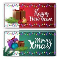 cartoline di auguri di Natale con regali isolati su sfondo bianco. modelli rossi e verdi